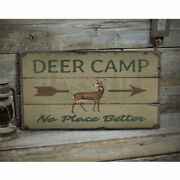 Deer Camp Arrow Novelty Distressed Sign Personalized Wood Sign