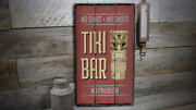Tiki Statue Rustic Distressed Sign, Personalized Wood Sign