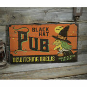 Black Hat Pub Novelty Distressed Sign, Personalized Wood Sign