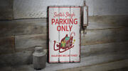 Santas Sleigh Parking Only Vintage Distressed Sign Personalized Wood Sign