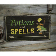 Potions And Spells Vintage Distressed Sign Personalized Wood Sign