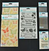 Martha Stewart Mixed Lot Clear Stamps Embellishments Stickers Metal Clips
