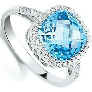 3.65ctw Blue Topaz And Diamond Cushion Ring White Gold Hallmarked Certificate