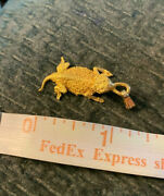Solid And Heavy Texas Horned Toad 14k Gold Pendant 6.3 Grams