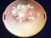 Antique Rs Prussia Handled Cake Plate Red Mark Pink Cabbage Roses Gold Border