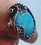 Vintage Sterling Silver Natural Turquoise Ring Size Size 9 From 1920s