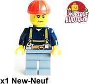 Lego Figurine Minifig Ouvrier Worker Chantier Ceinture Outil Casque Cty0530 Neuf