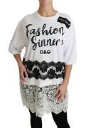 Dolce And Gabbana Top Cotton White Lace Fashion Sinners T-shirt It42 / Us8 /m 800
