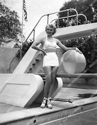 8b20-20478 Leslie Brooks Posing In Her New Swimsuit By The Diving Board W Beach
