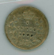 1886 Canada Five Cents Large 6 Silver Coin Iccs Vf-30 - Certge241