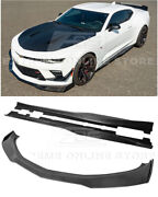 Eos For 16-up Camaro   Zl1 1le Carbon Fiber Front Splitter Lip And Side Skirts