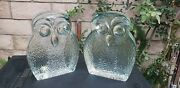 Pair Of Blenko Glass Mid Century Modern Clear Glass Owl Paperweight Bookends
