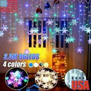3.5m Christmas Snowflake Led String Flashing Lights Outdoor Waterproof Party Usa