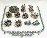 Fabulous Vtg Mcm Costume Jewelry Lot Clip On Earrings Necklace Pins