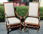 Pair Sheep Bone Os Du Mouton Style Arm Chairs Linen Upholstery Louis Xiii Throne