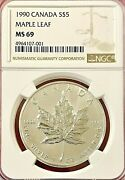 1990 5 Canada Silver Maple Ngc Ms-69