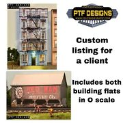 O Scale Custom Listing- Red Man Barn, Apartment 1, Two Building Flats