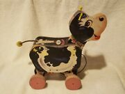 Vintage Fisher Price 155 Moo-oo Cow Wood Pull Toy 1958