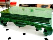 Rare Faux Malachite Lacquered Ming Asian Coffee Table Focal Point 1970and039s