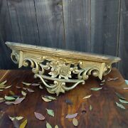Vintage Rococo Regency Turner Ornate Gold Resin Wall Mirror And Rose Shelf See Pic