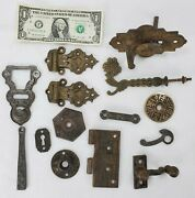 Lot Of Misc. Antique Victorian Door And Cabinet Hardware Latches Backplates Hasps