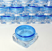 500 Small Square Cosmetic Containers Lip Balm Jars Pot Blue Lid 3 Gram Ml 3045