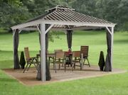 Sojag Messina 12x12 Steel Roof Sun Shelter With Netting New Ships From Factory