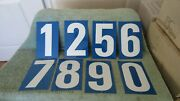 Vintage Lot Gas Station Metal 2-sided 60's Gas Signs Price Numbers Blue And White