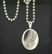 Victorian / Edwardian Silver Picture Locket Pendant And Ball Bead Chain. Nice1