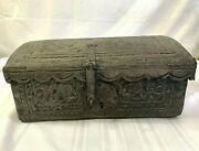 Spanish Colonial Hand Tooled Leather Wood Domed Document Storage Travel Box