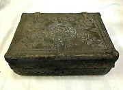 Spanish Colonial Hand Tooled Leather Wood Document Storage Travel Box Embossed