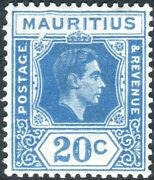 Mauritius-1938 20c Blue Broken Frame. A Lightly Mounted Mint Example Sg 258a