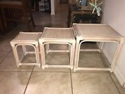 Rattan And Bamboo Whitewashed Nesting Tables 3 Pc Set Beach Nautical