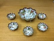 Vtg. Hand Painted Nippon Footed Gold Gilded Moriage Nut Berry Bowl Set 6 Pcs.