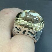 Dian Malouf Sterling Silver Ring With Peanut Wood Gemstone And 14k Gold