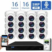 16 Channel 8mp 4k Nvr 16 X 5mp 1920p Poe Ip Cam Dome Security Camera System 4tb
