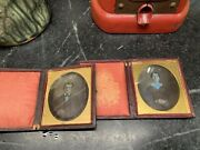 1/6 Plates Early Man And Wife Daguerreotypes In Full Cases