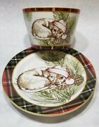 222 Fifth Wexford Beagle Dog Puppy Snack Plate And Bowl Plaid Trim New