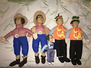 Vintage Lot Of 5 Three Stooges Dolls Doll 3 Halloween Pumpkin Collectibles