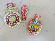 Vintage Lot Of Japan Tin Toy Litho Clickers Noise Makers Police