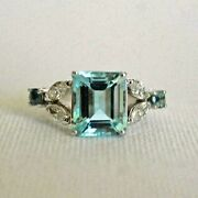 Natural Green Emerald Cut 1.66 Tcw Diamond Ring, Unique Engagement Silver Rings