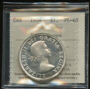 1954 Canada Silver Dollar Proof Lile - Iccs Pl-65 Heavy Cameo Certrg500