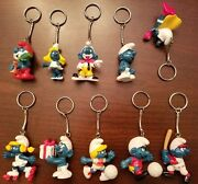 1980's Smurfs Collectible Figural Keychains Set Of 10 Papa Smurf, Smurfette,