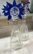 Vintage 18 Hand Blown Blue Sun Moon Face Stopper With Glass Decanter Retro
