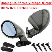 2x Carbon Fiber Car Side Mirrors Rearview Mirrors Vintage Sport Style Universal