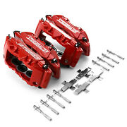 6 Piston Billet Caliper Front And Rear Kit - Red Powdercoated