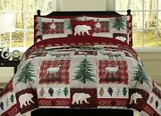 Hunting Cabin Lodge Plaid King Queen Twin Comforter Or Embroidered Sheet Set