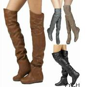 Womens Over Knee Thigh High Boots Faux Leather Flats Party Sexy Shoes Plus Size