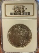 1886 S Morgan Silver Dollar Redfield Ngc Ms63 Coin Lot 968