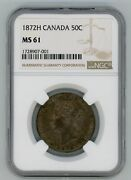 1872h Canada Fifty Cents - Ngc Ms61